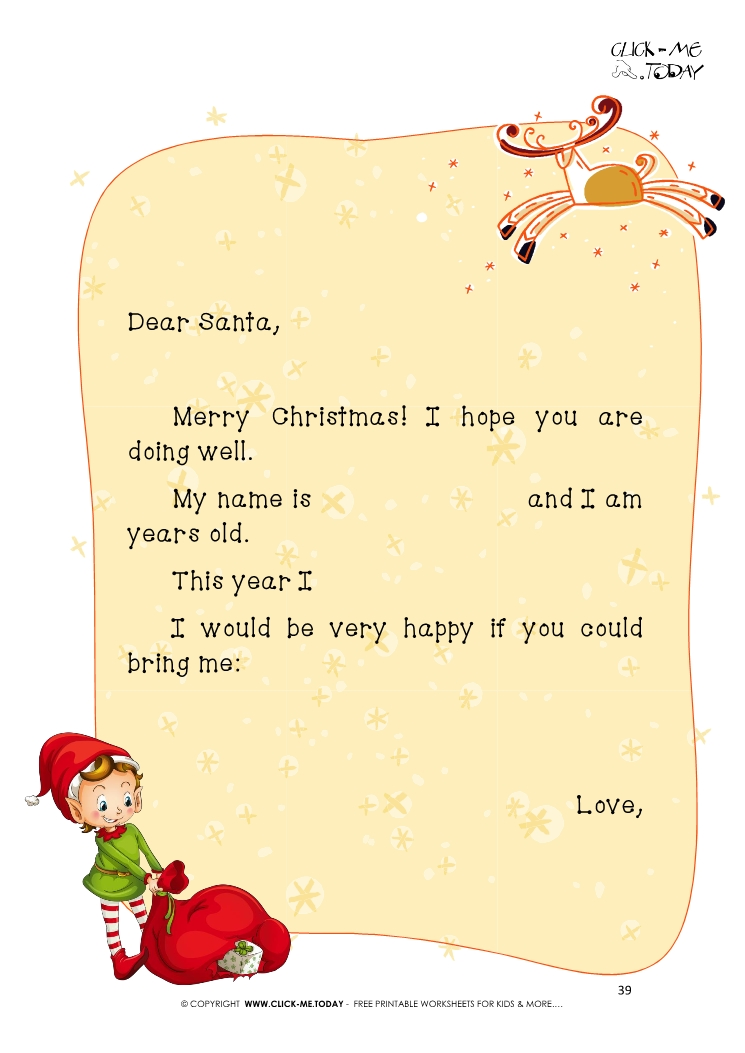 Ready to sent Elf letter to Santa Claus with sample text 39