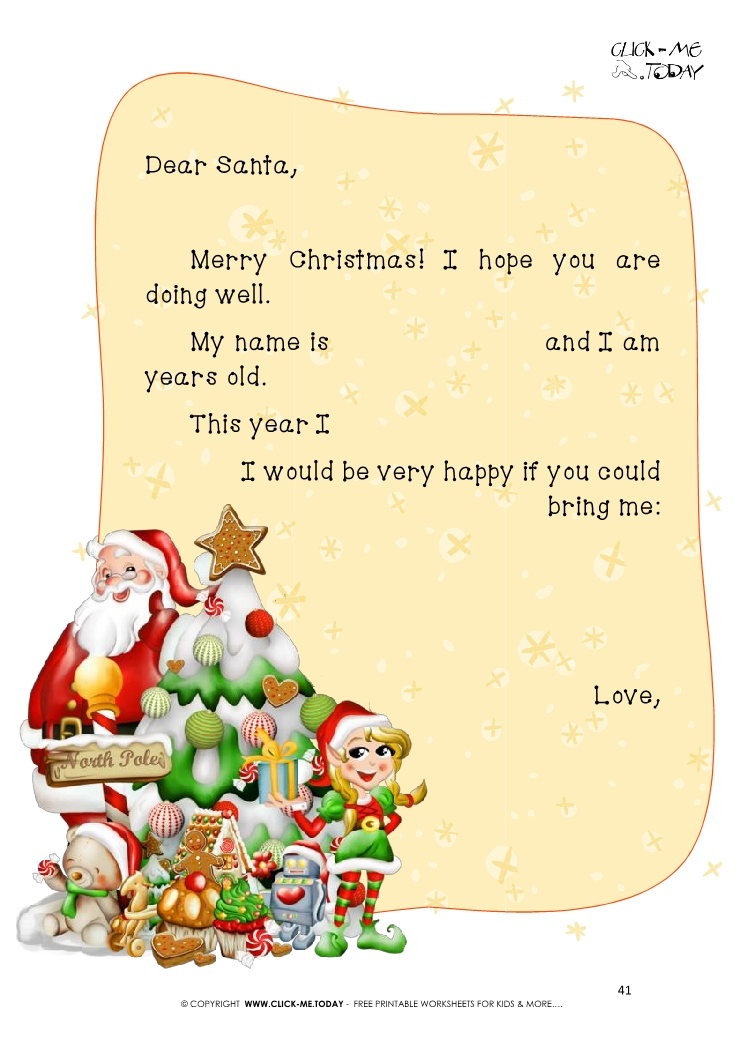 Free Printable Ready To Sent Short Letter To Santa Claus 41