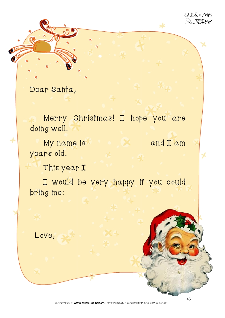 ready to sent vintage letter to santa claus template with text 45