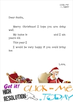 Funny Letter to Santa template with short text, sleigh and running Santa 13