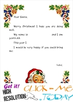 Printable Vintage ready letter to Santa with sample text template 7
