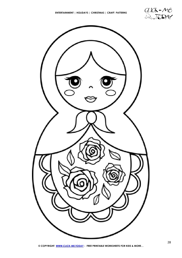 Free Printable Matryoshka Doll Craft Pattern Christmas Craft