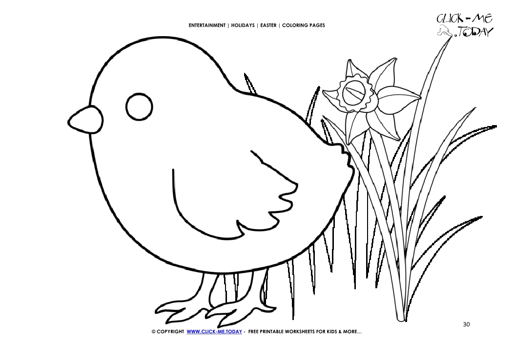 Easter Coloring Page 30 Cute Easter Chick In Grass