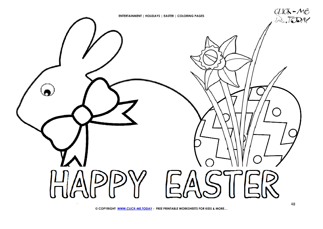 easter coloring page  48 happy easter big bunnie bow and eggs