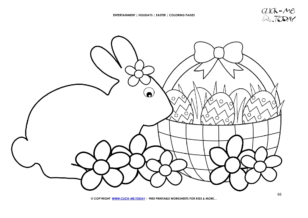 Easter Coloring Page: 66 Big Easter bunny & eggs basket