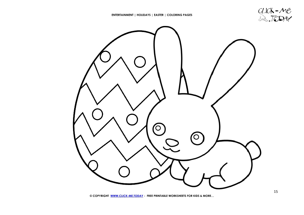 Easter Coloring Page: 15 Cute Easter bunny with detailed egg