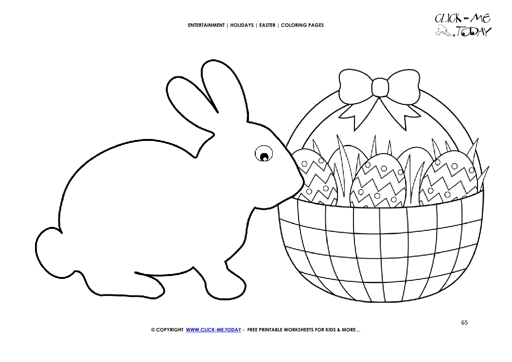 Easter Coloring Page 65 Big Bunny And Basket With Eggs