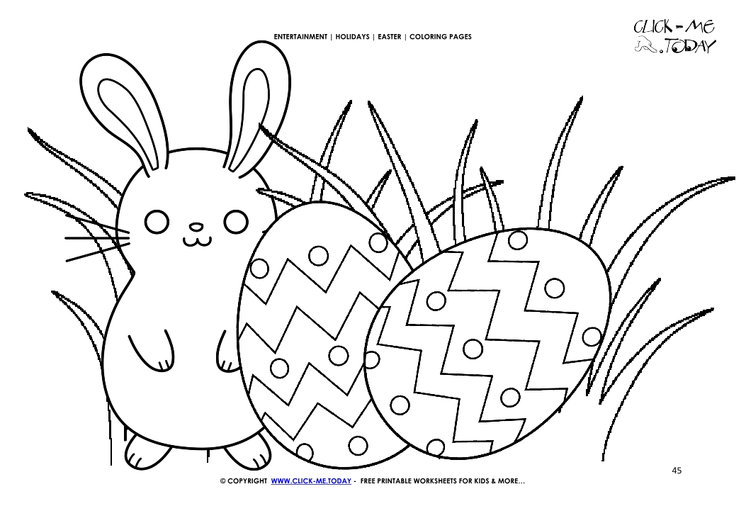 Easter Coloring Page 45 Bunnie With Two Eggs In Grass