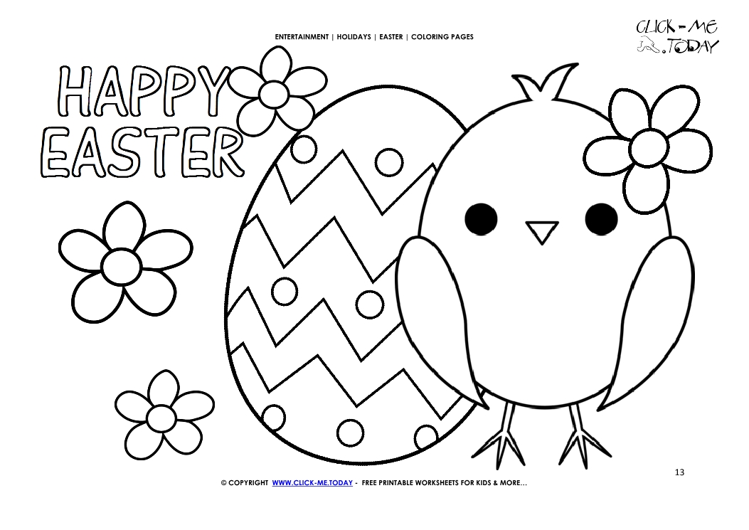 Easter Coloring Page: 13 Happy Easter Chicken, Egg & Flowers