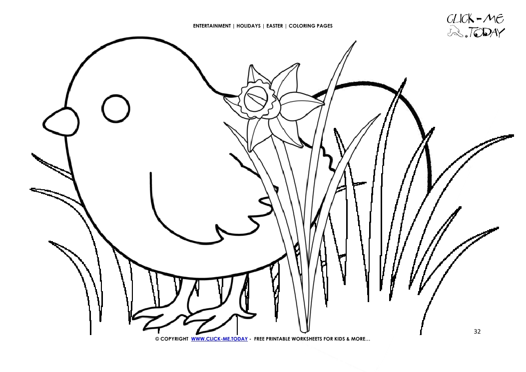 Easter Coloring Page 32 Chick With Egg In Grass