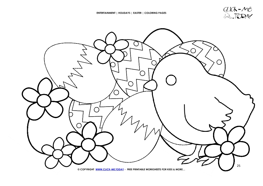 Easter Coloring Page 25 Easter Cute Chick With Eggs Flowers