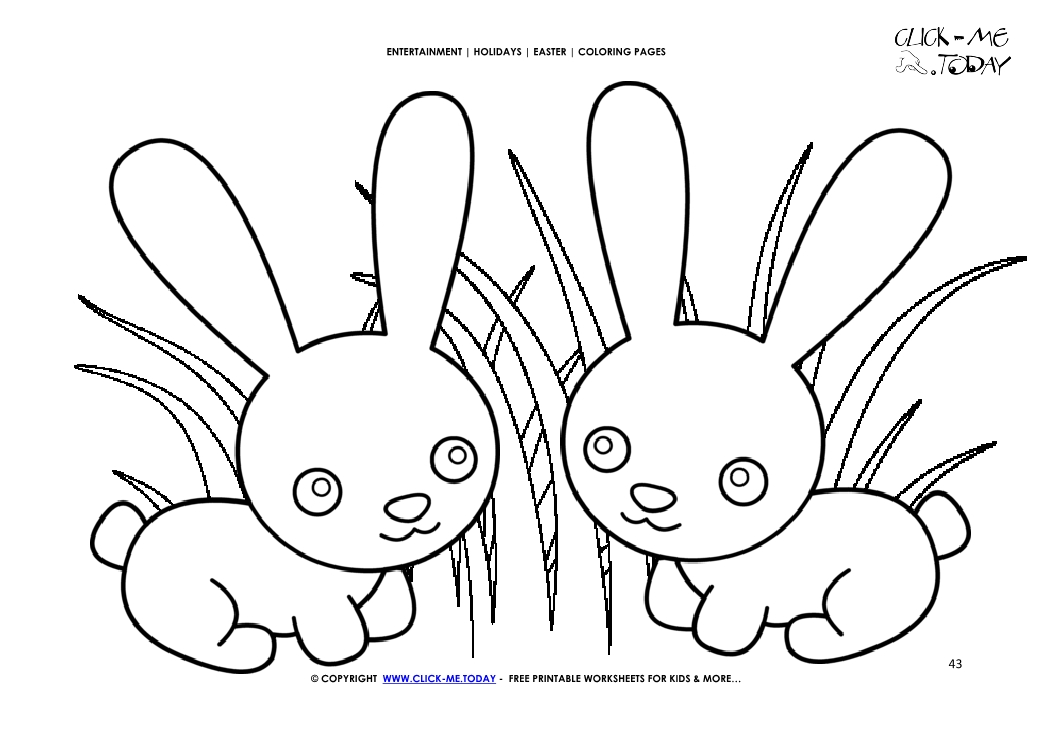Easter Coloring Page 43 Easter Cute Bunnies In Grass