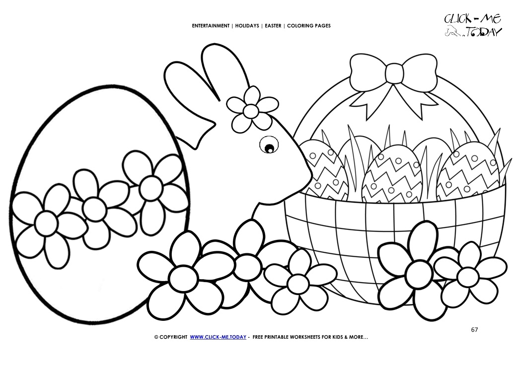 Easter Coloring Page: 67 Easter bunny & eggs basket with flowers