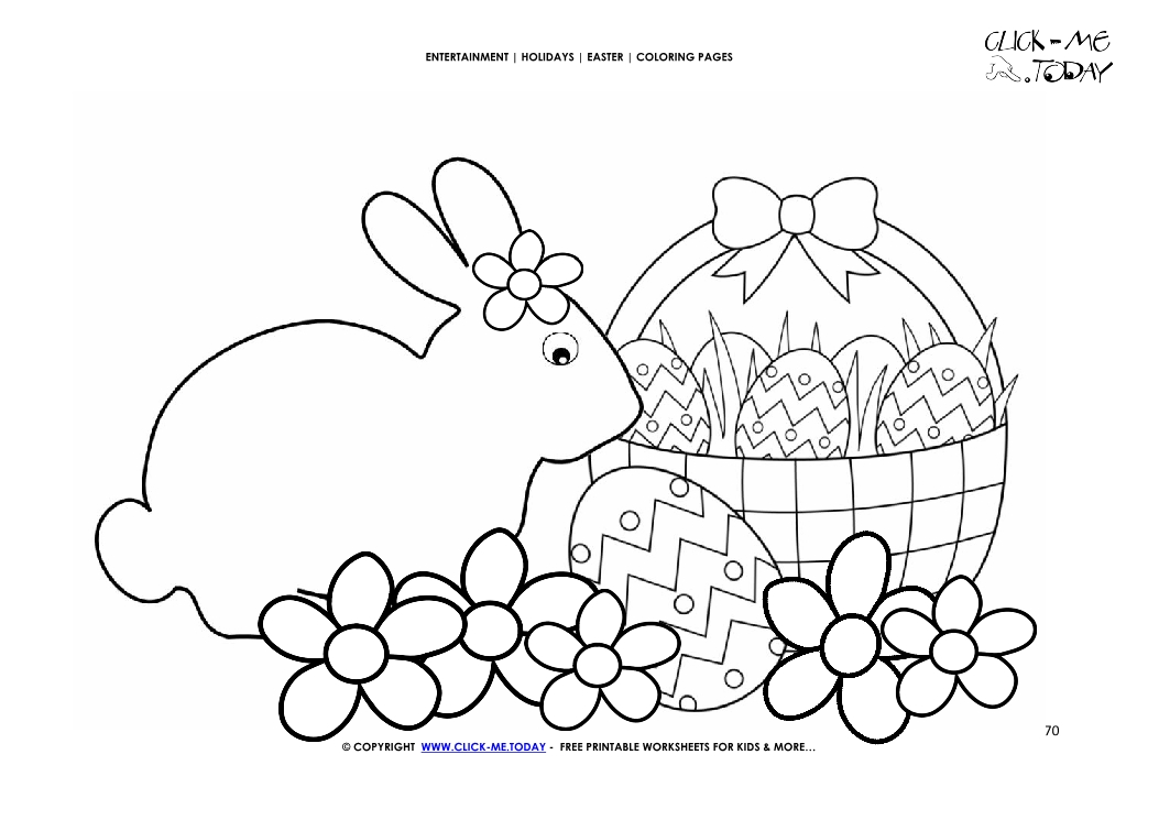 Easter Coloring Page:  70 Flowers and Easter bunny with eggs