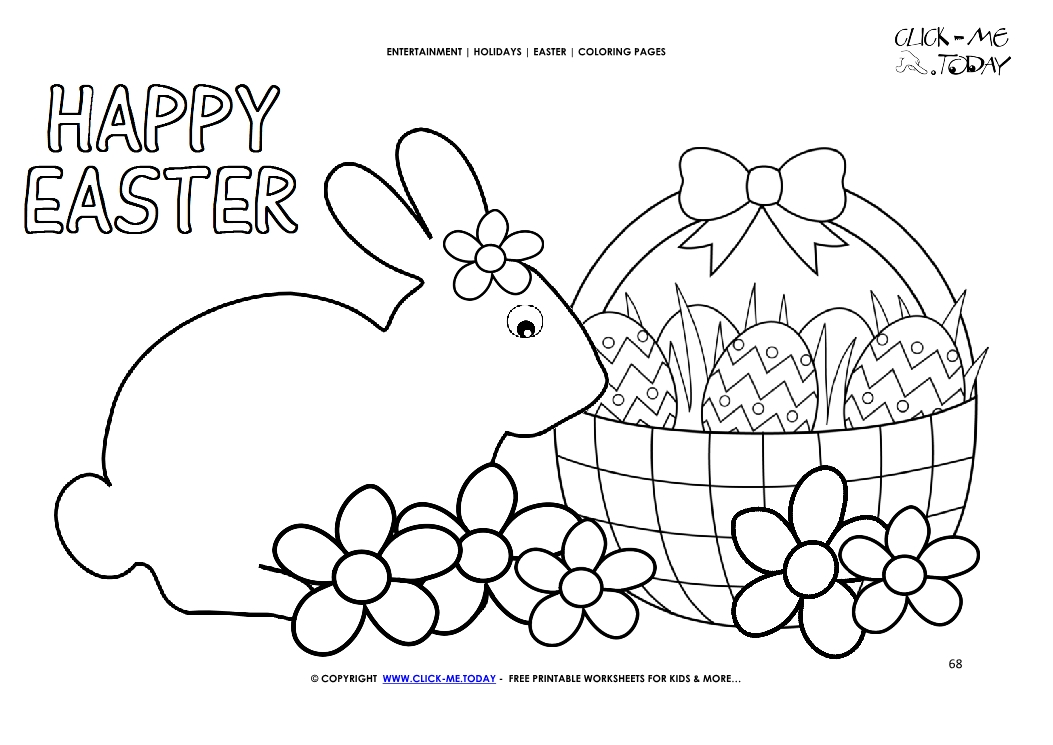 Easter Coloring Page:  68 Happy Easter bunny basket with flowers