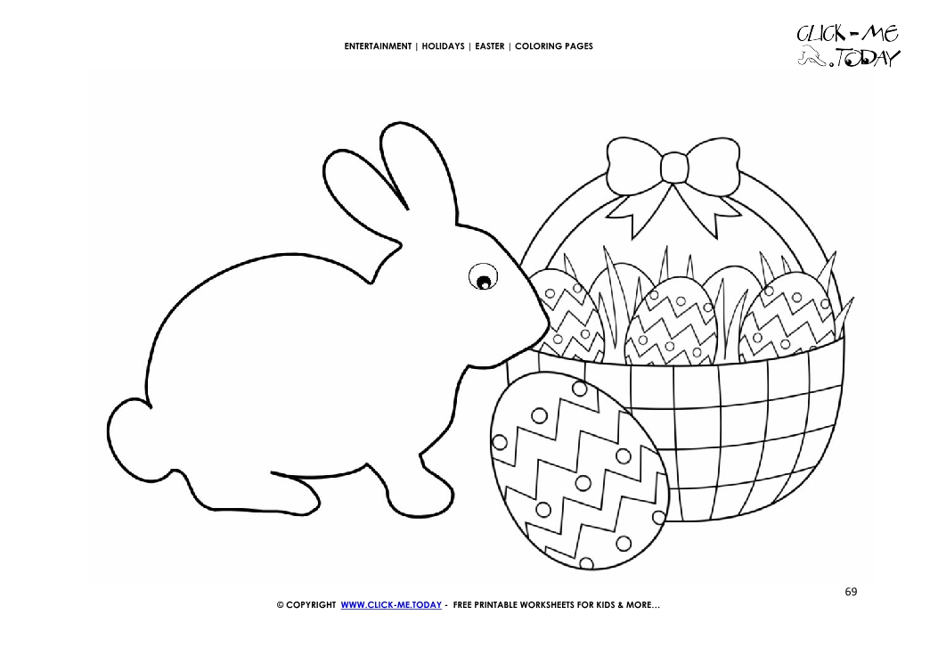 Easter Coloring Page: 69 Plain Easter bunny and basket of eggs