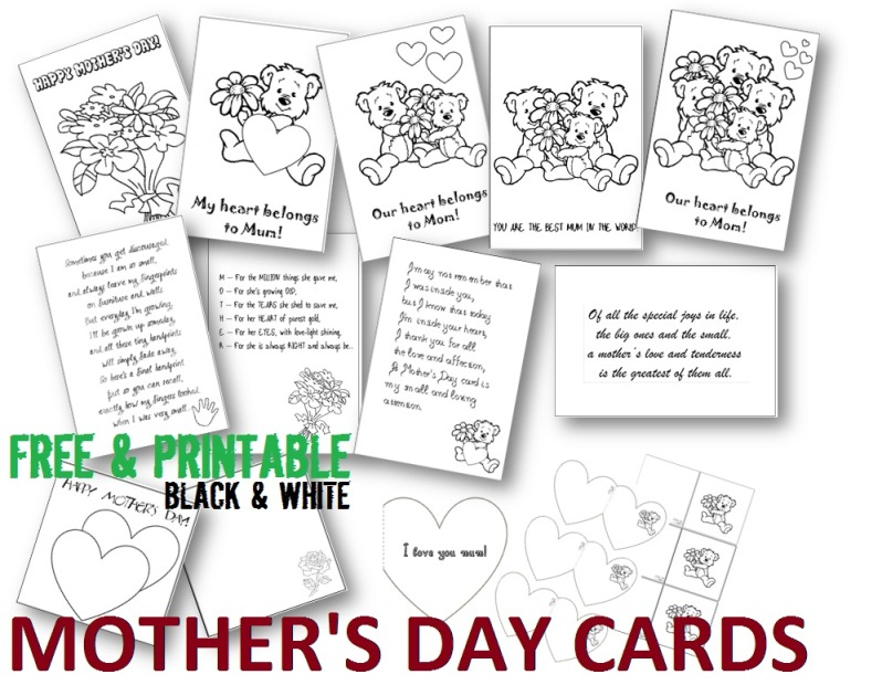 Mother's Day free printable cards, black and white