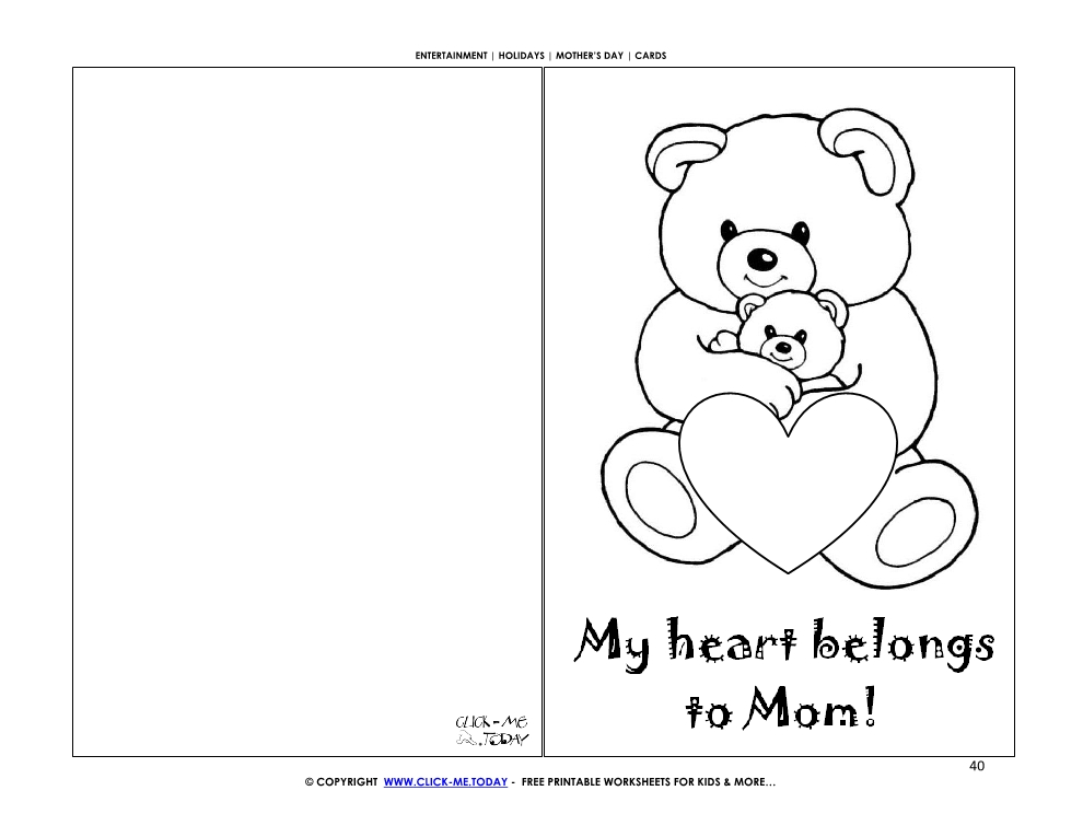 Mothers Day Card Bear Baby Heart My Heart Belongs To Mom 40