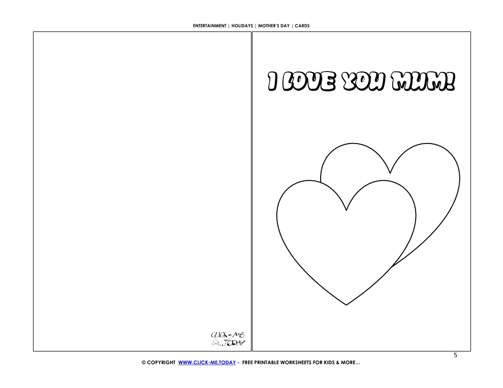 Mother's Day card with two big hearts - I Love you Mum