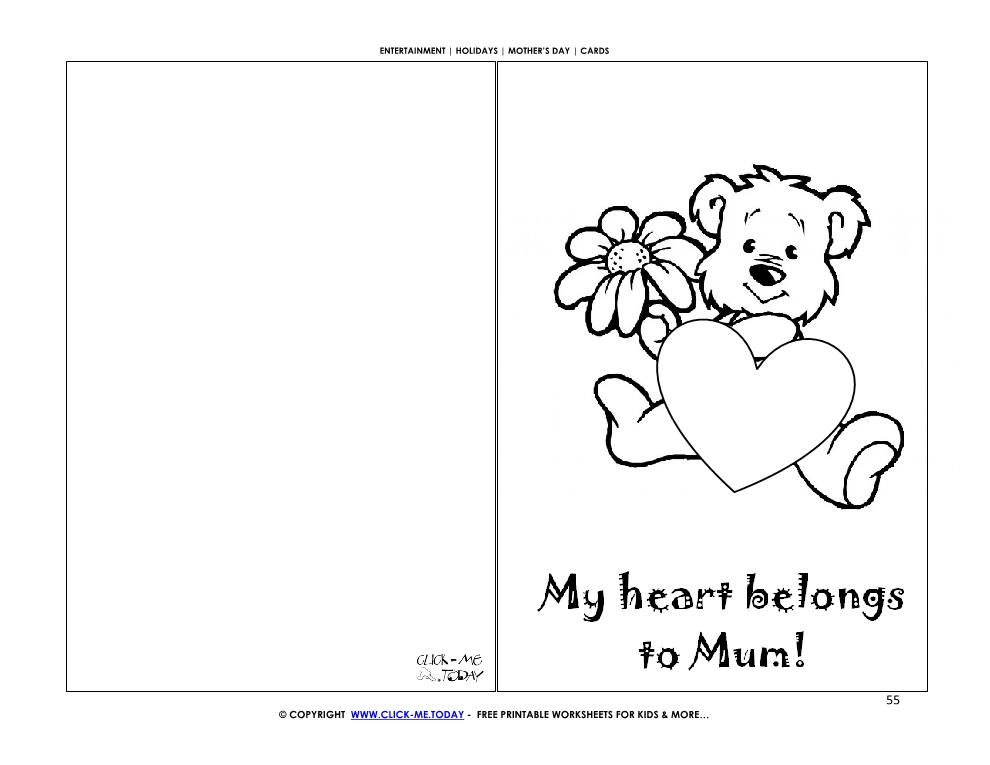 Mother's Day card little bear, flower & heart - My heart belongs to mum