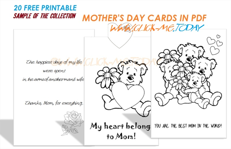 graphic regarding Printable Mothers Day Cards to Color Pdf identified as 20 No cost printable Moms Working day Playing cards inside of PDF
