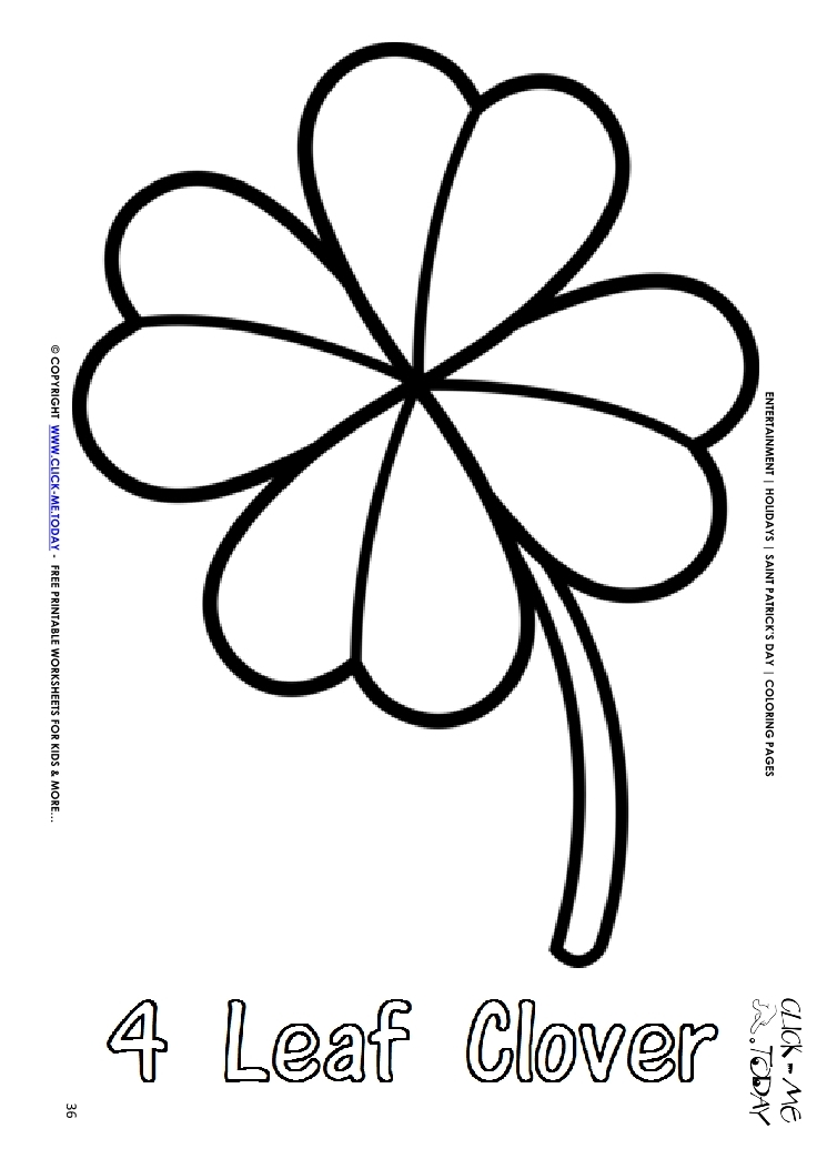 picture about St Patrick's Day Clover Printable identify St. Patricks Working day Coloring web page: 36 Large 4 Leaf Clover Words