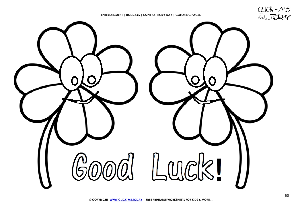 St Patrick S Day Coloring Page 50 Four Leaf Clovers Faces Good Luck