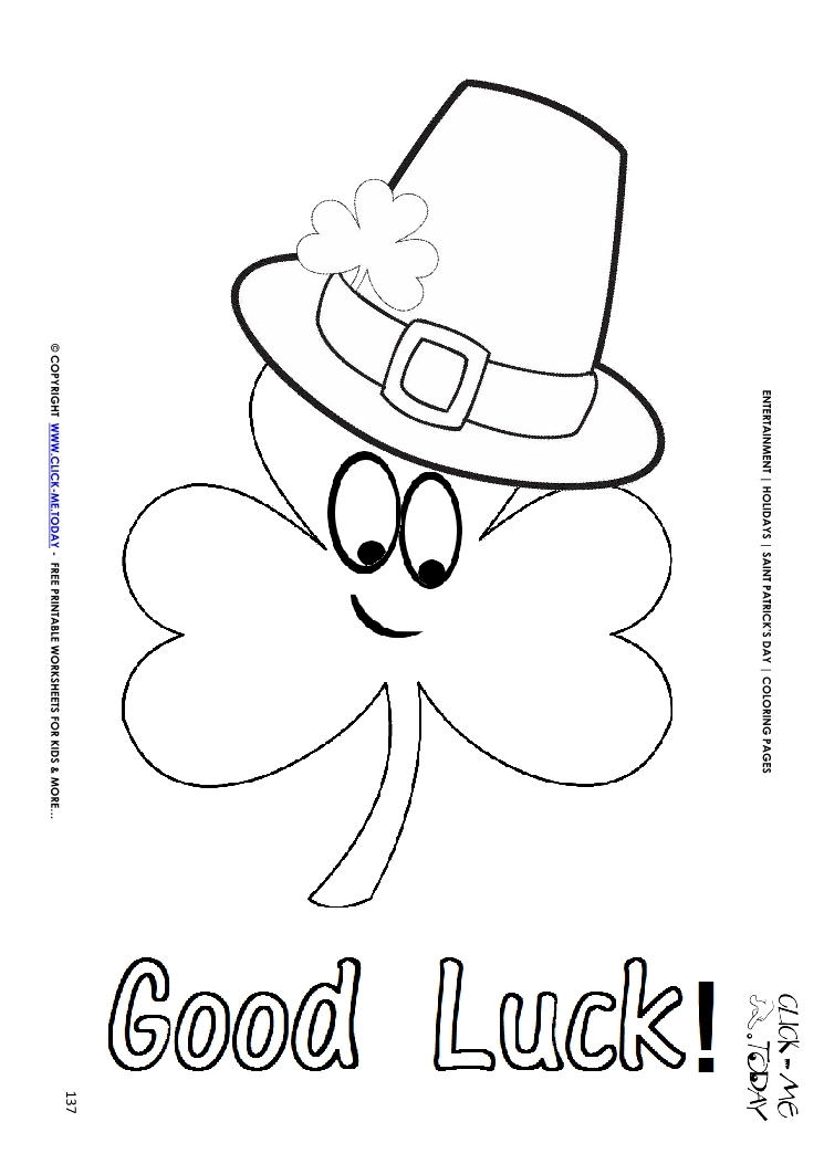 good luck coloring pages - shamrock hat coloring pages bltidm