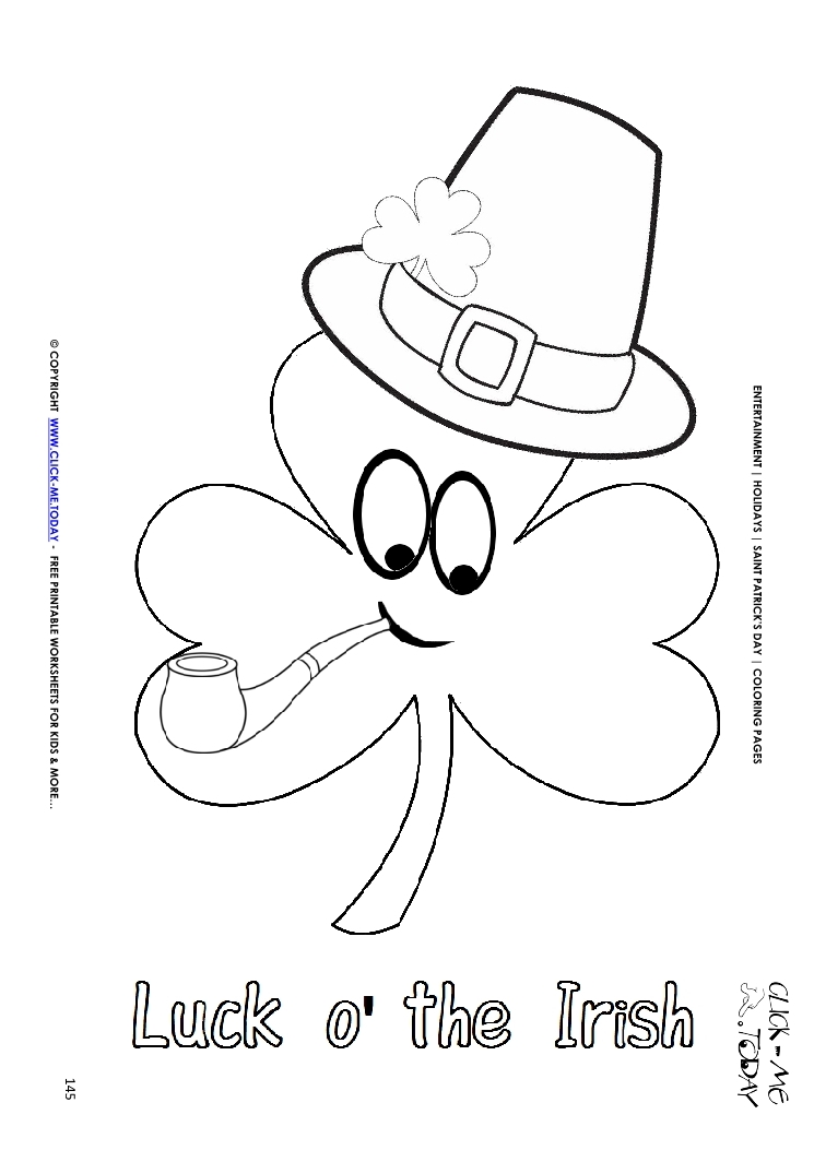 Coloring Page 145 Shamrock Face Hat Pipe Luck Irish
