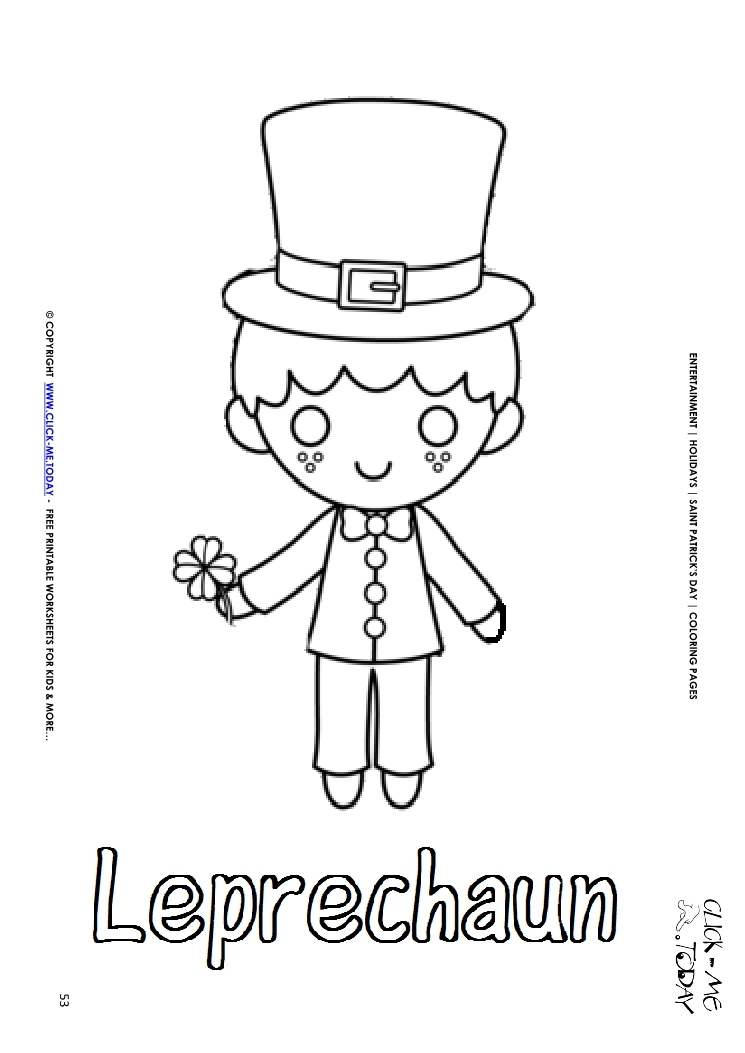 St. Patrick\'s Day Coloring page: 53 Leprechaun with 4 leaf clover Text