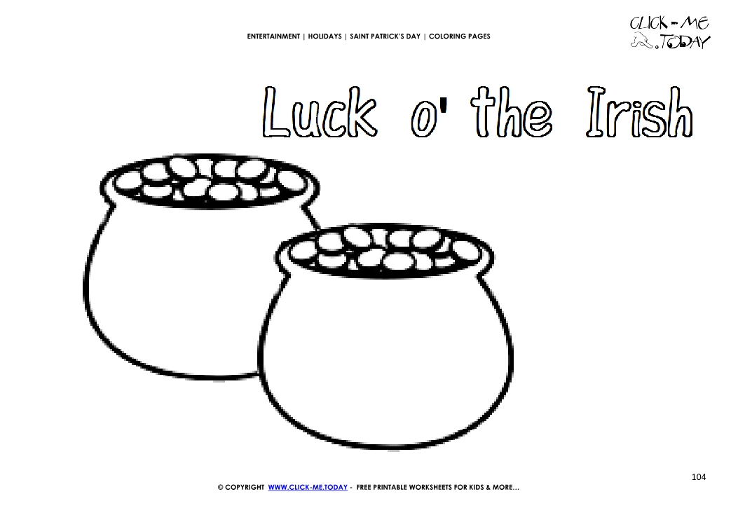 Coloring Page 104 Luck O The Irish Pots Of Gold