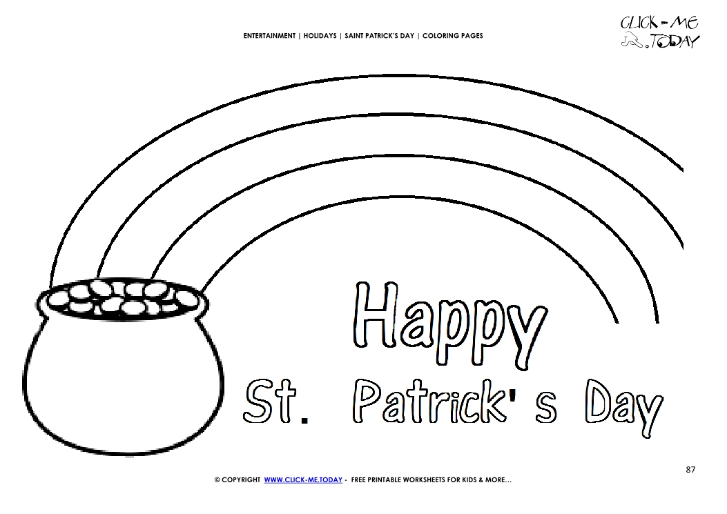 St Patrick S Day Coloring Page 87 Pot Of Gold Rainbow