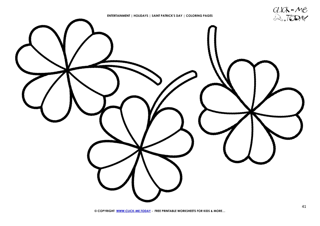 Coloring Page 41 Three Four Leaf Clovers