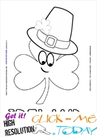 St. Patrick's Day Coloring page: 139 Shamrock face hat Ireland