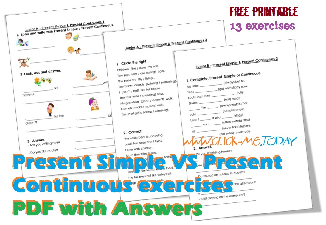 Present Simple VS Continuous exercises PDF with Answers
