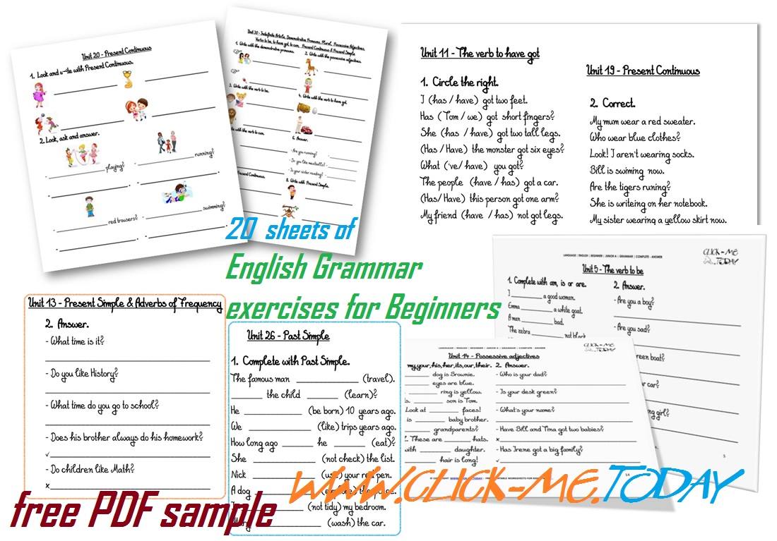 English Grammar exercises for Beginners PDF
