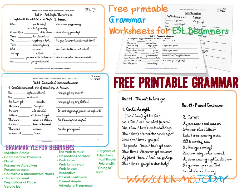 Worksheet Free Esl Worksheets For Beginners esl grammar worksheets free delwfg com printable for beginners