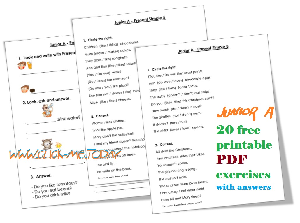 Junior A - Present Simple exercises PDF with Answers