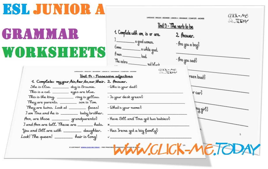 ESL JUNIOR A GRAMMAR WORKSHEETS COMPLETE-ANSWER