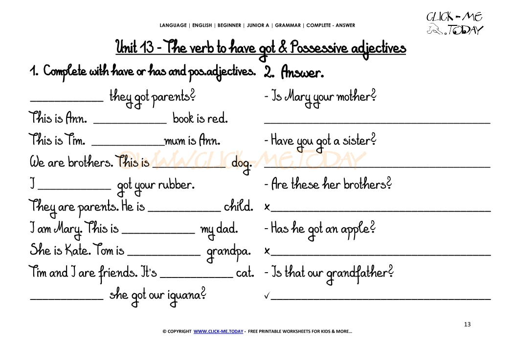 GRAMMAR WORKSHEETS COMPLETE-ANSWER - Possessive Adjectives (my,your ...