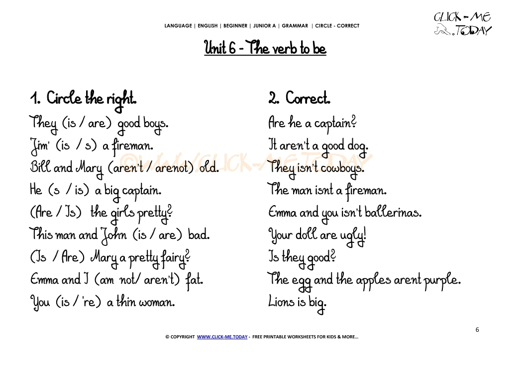 Grammar Exercises Circle Correct Verb To Be U6