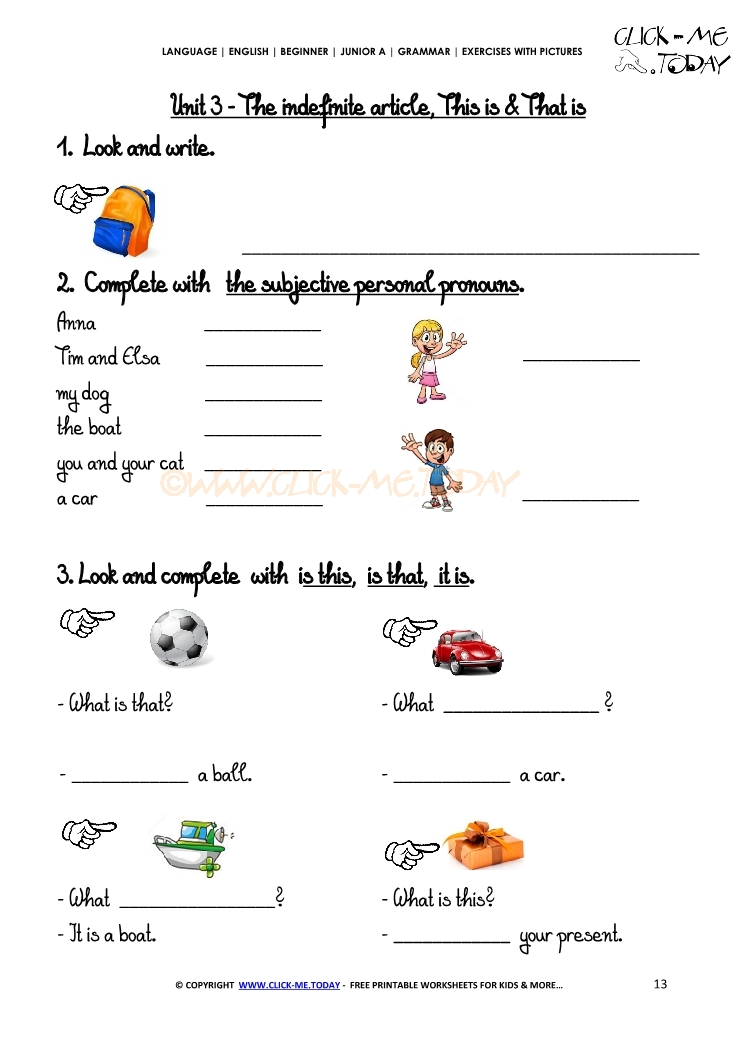 Exercises With Pictures Demonstrative Pronouns 2 – Demonstrative Adjectives Worksheets