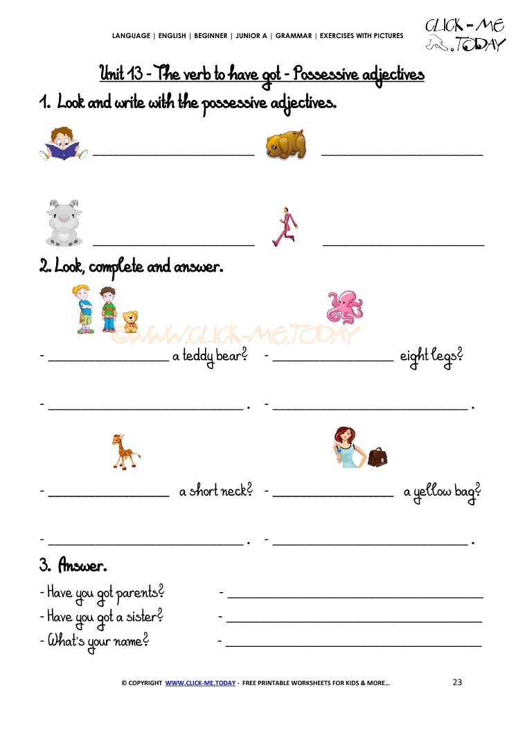 Exercises With Pictures Possessive Adjectives 1 – Possessive Adjectives Worksheet