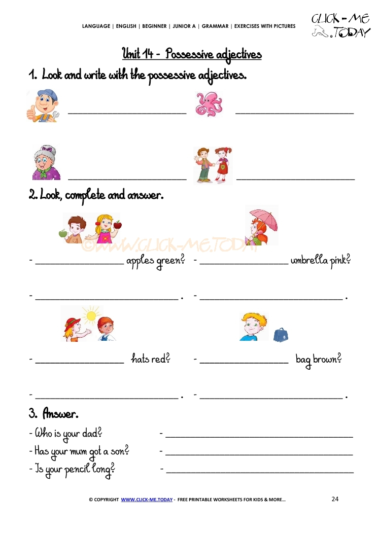 Printable Worksheets possessive adjective worksheets : Exercises With Pictures - Possessive Adjectives 2