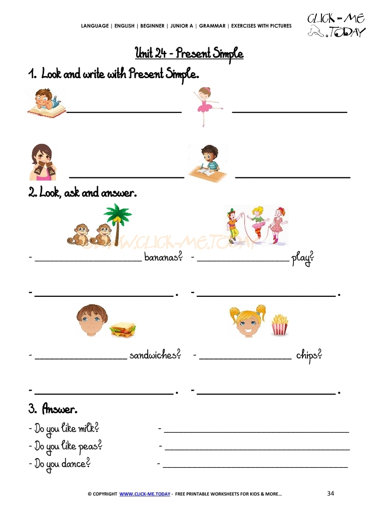 Grammar Exercises With Pictures Present Simple 2