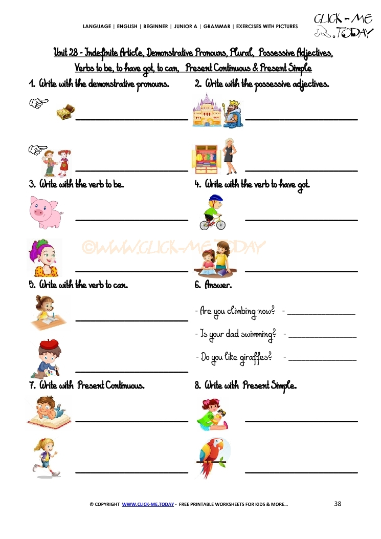 Clickmetoday. Grammar Exercises S Revision Junior A. Worksheet. Adjectives And Articles Worksheets At Mspartners.co