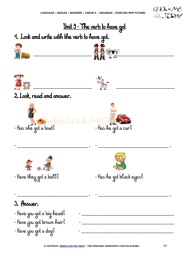 Grammar Exercises With Pictures - Verb To Have Got 1