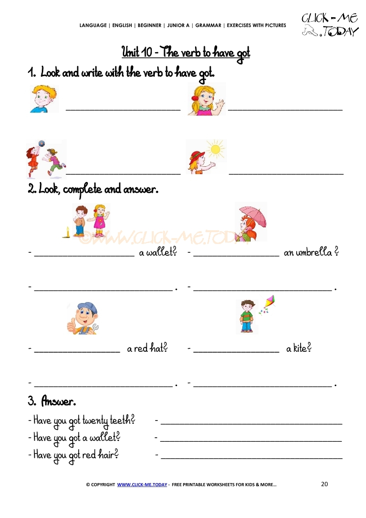 grammar exercises with pictures   verb to have got 2