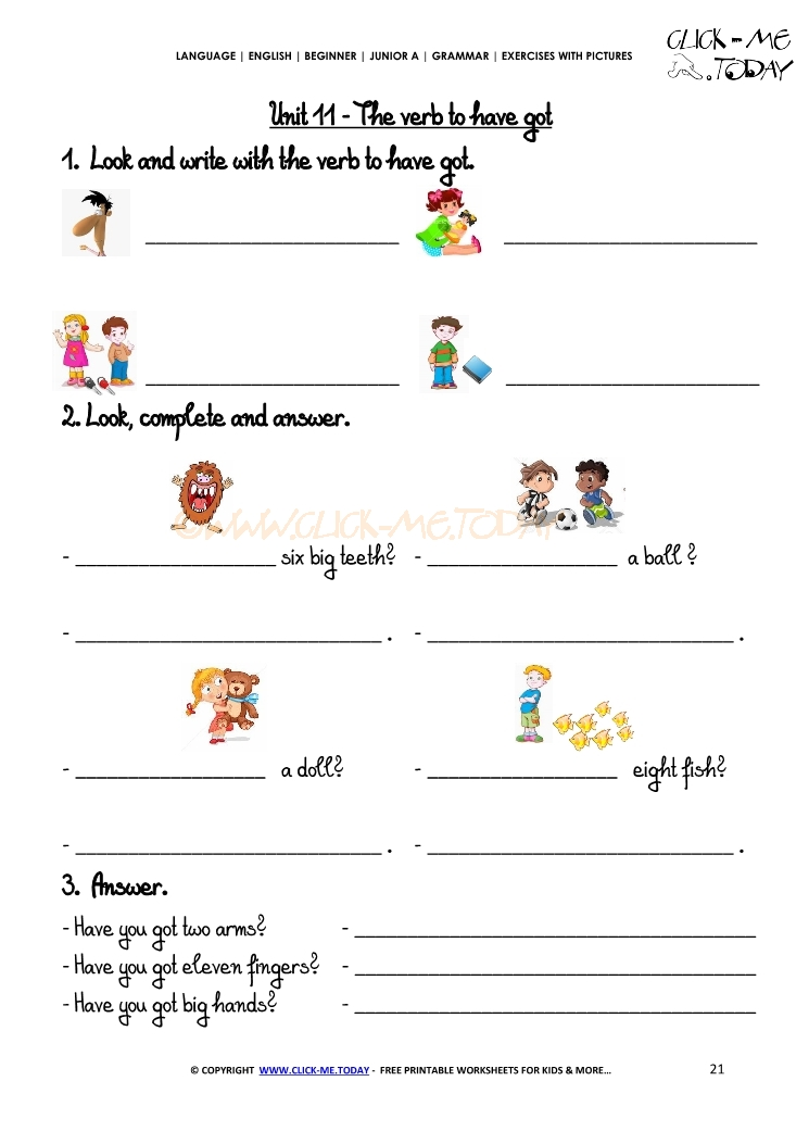 Grammar Exercises With Pictures - Verb to have got 3