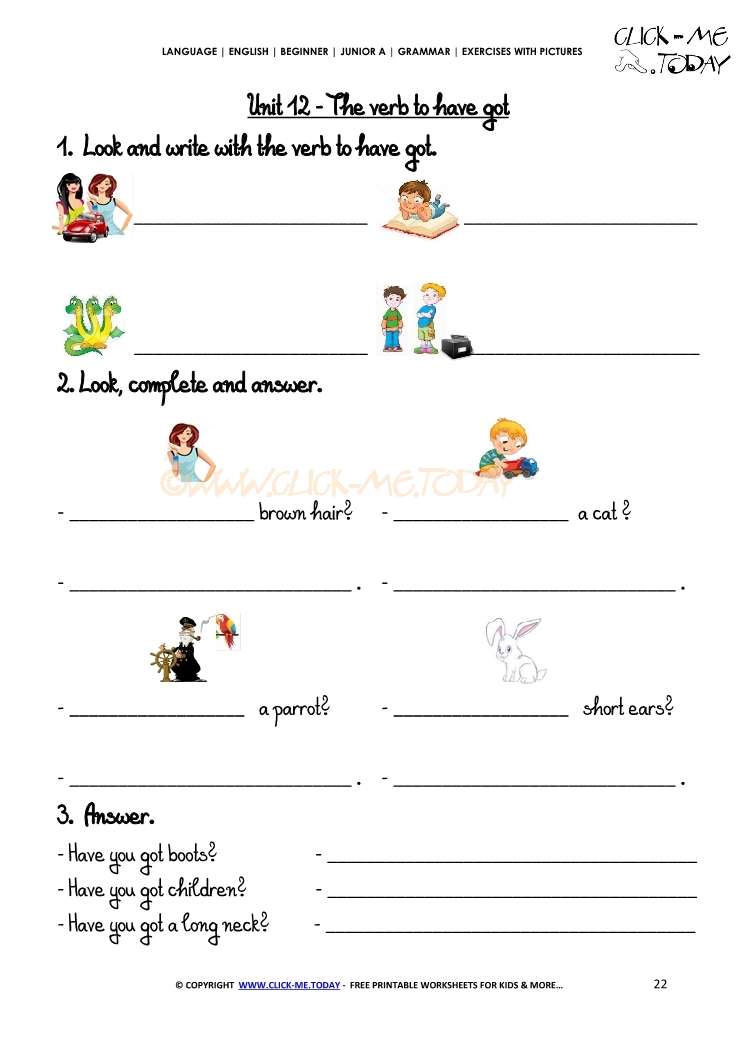 Grammar Exercises With Pictures - Verb To Have Got 4
